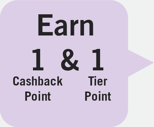 Earn 1 Cashback Point & 1 Tier Point